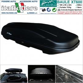 BOX BAULE DA TETTO AUTO 600Litri Cofano Carbox Portabagagli Portapacchi Portasci