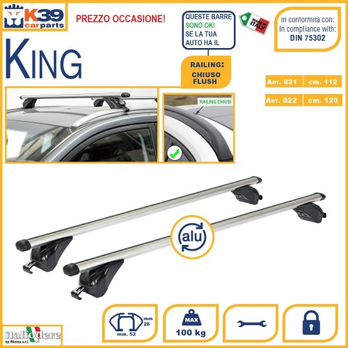 BARRE Portatutto K39 King Portabagagli Portapacchi Acciaio per Seat Altea XL 09 in poi - 1