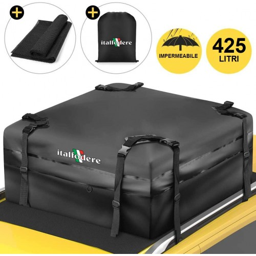 BOX BAULE DA TETTO AUTO Morbido 425Litri Cofano Carbox Portabagagli Portapacchi
