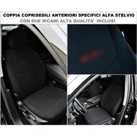 Coppia Coprisedili Specifici Alfa Romeo Stelvio Fodere Foderine Solo Anteriori VARI COLORI e Log