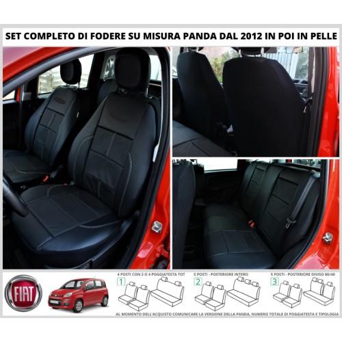 FODERE COPRISEDILI Su Misura Vera Pelle per FIAT Panda III Serie dal 2012 in poi Tappezzeria Fodera Foderine Complete