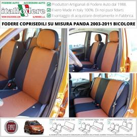 FODERE COPRISEDILI Su Misura FIAT Panda II Serie dal 2003 al 2011BICOLORE ARANCIO-NERO