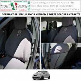 Coppia Coprisedili Lancia Ypsilon 5 Porte Dal 2011 In Poi Su Misura Fodere Foderine Anteriori Antracite