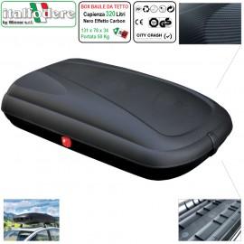 Box Baule Da Tetto Auto 320Litri Effetto Carbonio Artplast Portabagagli Portapacchi Bauletto
