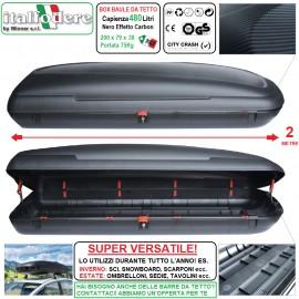 Box Baule Da Tetto Auto 480Litri Effetto Carbonio Artplast Portabagagli Portapacchi Portasci