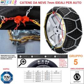CATENE DA NEVE A ROMBO 7mm Gruppo 5 (VEDI IMG) DOPPIA OMOLOGAZIONE! TENSORE ACCIAIO!