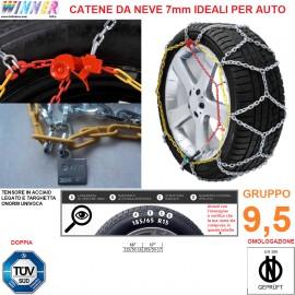 CATENE DA NEVE A ROMBO 7mm Gruppo 9,5 (VEDI IMG) DOPPIA OMOLOGAZIONE! TENSORE ACCIAIO!