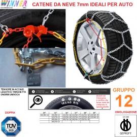 CATENE DA NEVE A ROMBO 7mm Gruppo 12 (VEDI IMG) DOPPIA OMOLOGAZIONE! TENSORE ACCIAIO!