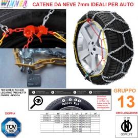 CATENE DA NEVE A ROMBO 7mm Gruppo 13 (VEDI IMG) DOPPIA OMOLOGAZIONE! TENSORE ACCIAIO!