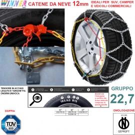 CATENE DA NEVE A ROMBO 12mm Gruppo 22,7 (VEDI IMG) DOPPIA OMOLOGAZIONE! TENSORE ACCIAIO!