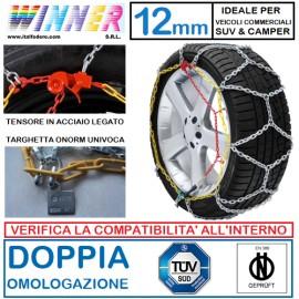 CATENE DA NEVE A ROMBO 12mm Gruppo 25 (VEDI IMG) DOPPIA OMOLOGAZIONE! TENSORE ACCIAIO!