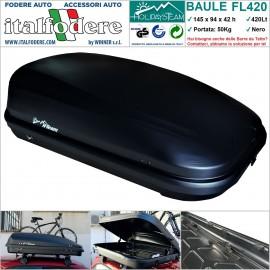 BOX BAULE DA TETTO AUTO 420Litri Cofano Carbox Portabagagli Portapacchi Portasci