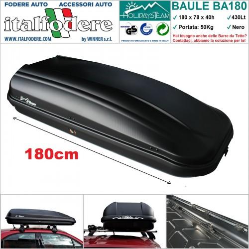 BOX BAULE DA TETTO AUTO 430Litri Cofano Carbox Portabagagli Portapacchi Portasci