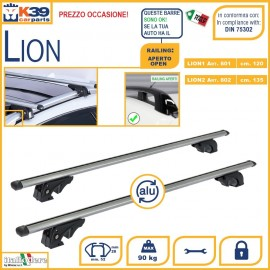 Fiat Panda III (railing:aperto/open) Dal 2012 in Poi fino a BARRE Portatutto K39 Lion Portabagagli Portapacchi Alluminio