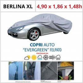 Copriauto Berlina XL - 4,90 x 1,86 x 1,48h - Felpato in Materiale Speciale Con Zip Portiera lato guida