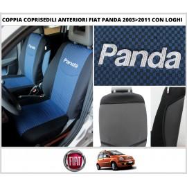 Coppia Coprisedili Specifici Fiat Panda II Serie dal 2003 al 2011 CON LOGHI Fodere Foderine Solo Anteriori VARI COLORI