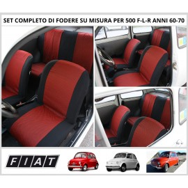 Fodere Coprisedili Su Misura Per Fiat 500 F-L-R Anni 60-70 Fodera Foderine Complete Vari Colori