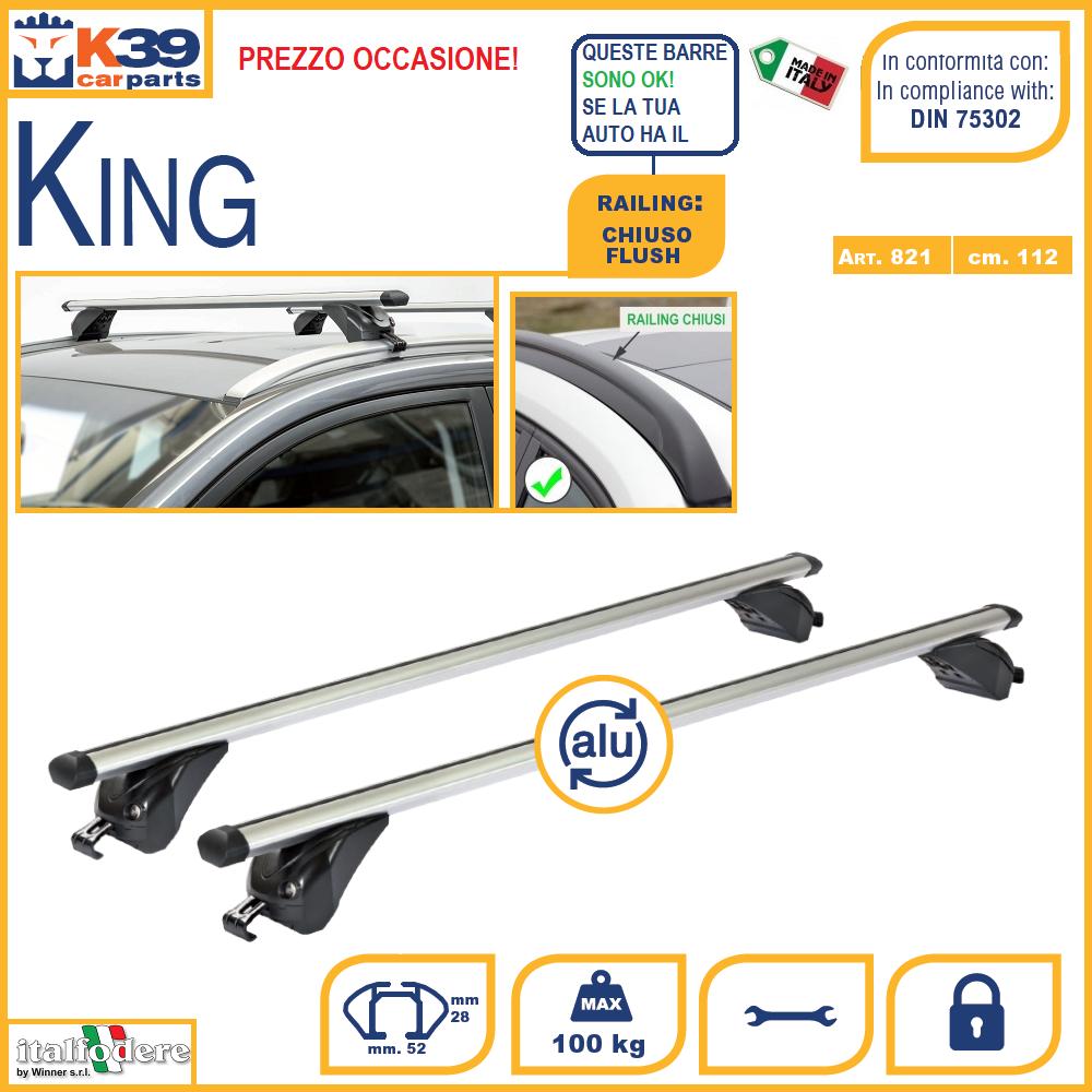 Barre Portatutto Portapacchi Renault Kadjar 2015/> 5P King Max 100 Kg K39 ALU